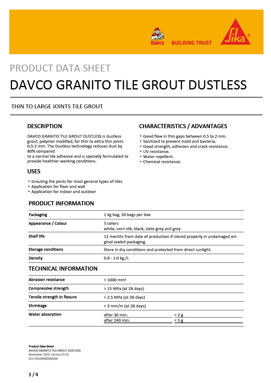 DAVCO GRANITO TILE GROUT DUSTLESS