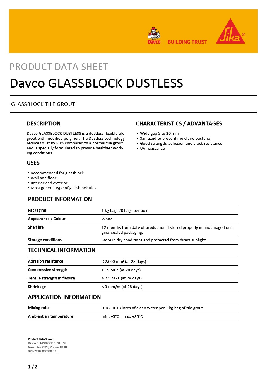 Davco GLASSBLOCK DUSTLESS